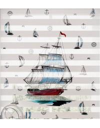 Gemi Baskılı Zebra Perde