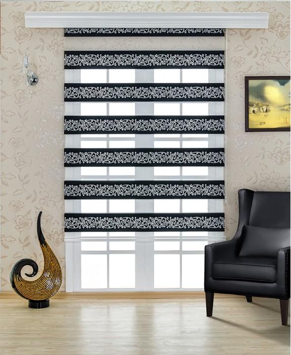 Siyah-Gümüş İşlemeli Zebra Perde